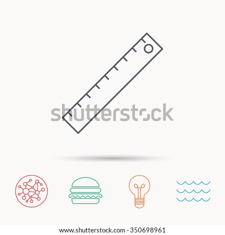Ruler icon. Straightedge sign. Geometric symbol. Global connect network, ocean wave and burger icons. Lightbulb lamp symbol.