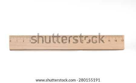 Ruler wooden isolated on a white background - stock photo