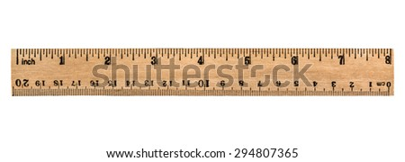 Ruler wooden, isolated on white background - stock photo