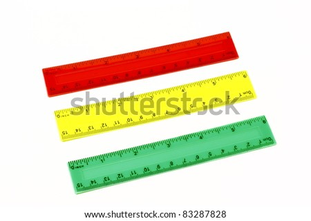 Rulers school for measurement of distances in inches and centimeters - stock photo