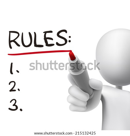 rules word written by 3d man over white  - stock photo
