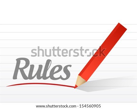 rules written on a white paper illustration design