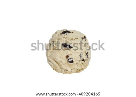 Rum Raisin  ice cream from top on white background with clipping path