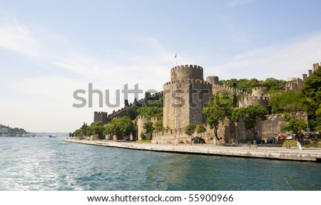 Rumeli Fortress in Istanbul, Turkey on the Bosphorus river with a blue sky background