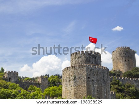 Rumeli Hisari (Castle of Europe) by the Bosphorus Strait, built in 1452 in Istanbul, Turkey.