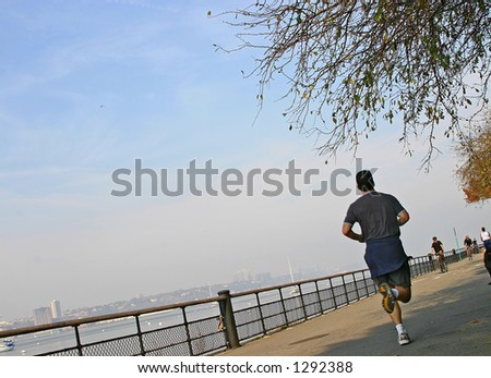 Run along a Hudson river