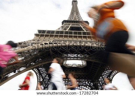 Run and Eiffel Tower paris - stock photo