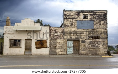 run down old dance hall and saloon - stock photo