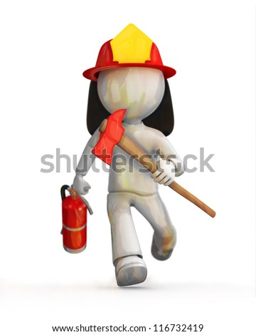 RUN fire fighter, RUN!!! - stock photo