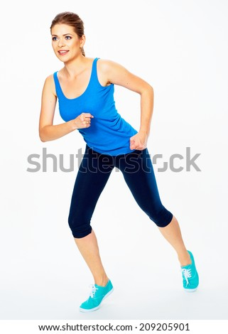 run fitness woman isolated portrait.  white background isolated - stock photo