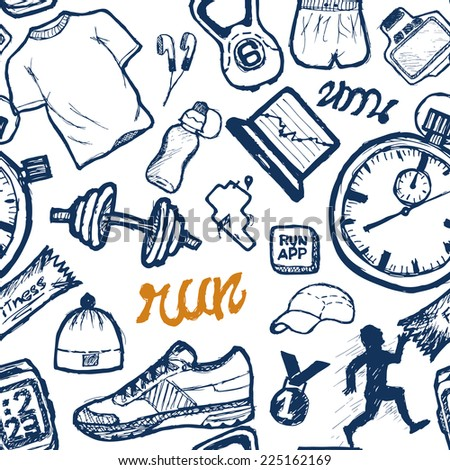 Run pattern seamless set in doodle style, hand drawing - stock photo