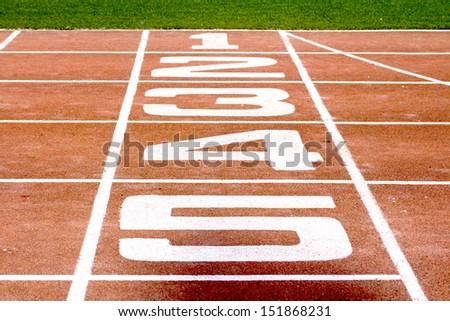 Run race track in sport stadium vintage style - stock photo