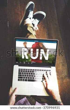 Run Runner Athlctic Exercise Health Jogging Speed Rush Concept - stock photo