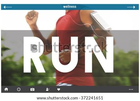Run Runner Exercise Health Jogging Speed Rush Concept - stock photo