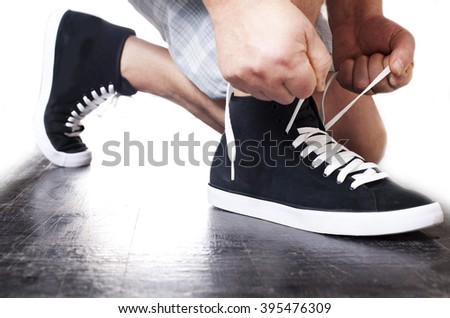 Run. Sneakers. lace up. - stock photo