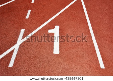 Run Track at Stadium with Number One