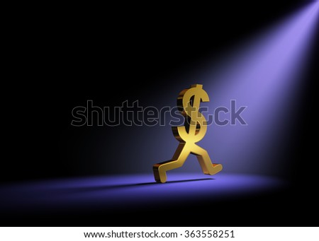Runaway Expenses.  A gold dollar sign in the dark is caught in a bright spot light as it runs away.