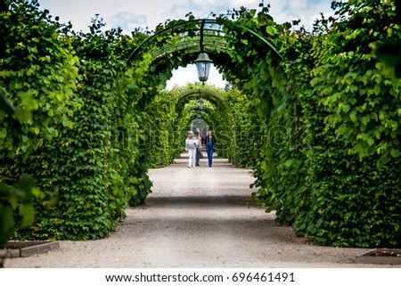 Rundale, Latvia   July, 2017: Green Garden Arches And Path. Landscape  Gardening