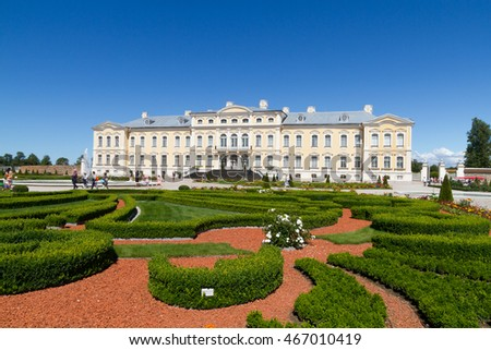 RUNDALE, LATVIA - JULY 19, 2016:Rundale Palace is one of the most popular landmarks of Latvia .