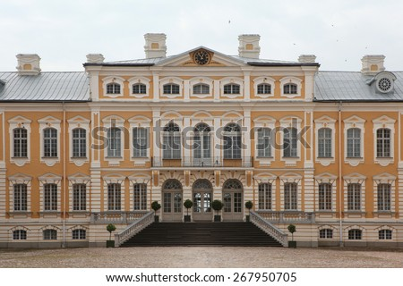 Rundale Palace designed by Russian Baroque architect Bartolomeo Rastrelli near Pilsrundale, Latvia. - stock photo