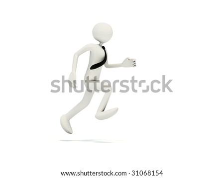 Runing man isolated on white - stock photo