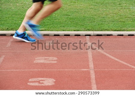 runner at the finish - stock photo