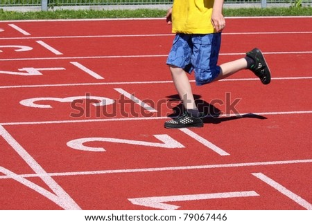 runner at the finish - stock photo