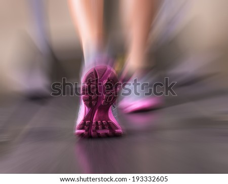 Runner feet running in fitness room closeup on shoe. Woman fitness  - stock photo