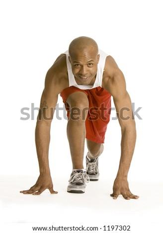 Runner getting ready - stock photo