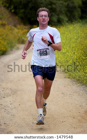 runner in a 13 mile trail race