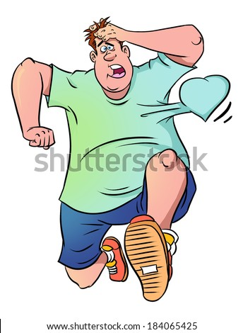 Runner in panic with his heart beating out of his chest  - stock photo
