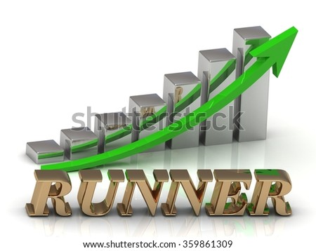 RUNNER- inscription of gold letters and Graphic growth and gold arrows on white background