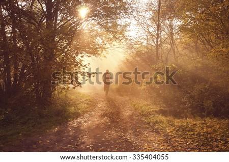 Runner is running through misty morning autumn forest during wonderful calm sunset - stock photo