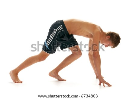 runner isolated on white background