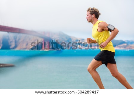 runner man listening music during run stock photo 504289417 shutterstock. Black Bedroom Furniture Sets. Home Design Ideas