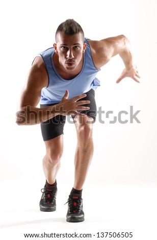Runner man portrait on white background. - stock photo