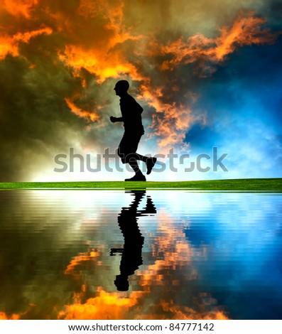 Runner silhouette - stock photo
