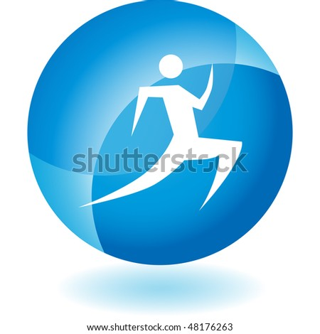 Runner stick figure isolated web icon on a background. - stock photo