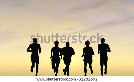 runners in the evening - stock photo