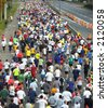 Runners pack the streets of New York City during the 2006 ING New York City Marathon - stock photo