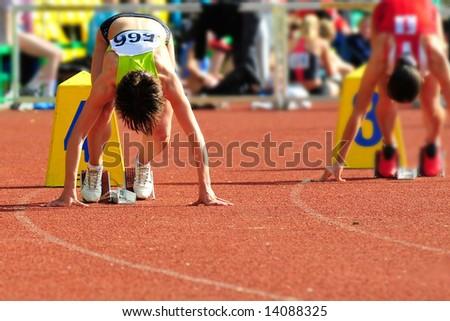 Runners start - stock photo