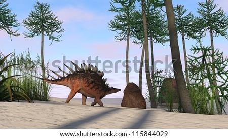runnig cerantosaurus in araucaria tree grove - stock photo