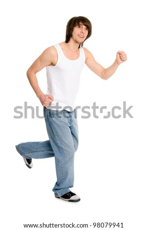 Running a young man in summer clothes. - stock photo