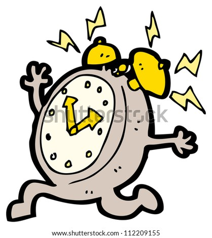 running alarm clock cartoon - stock photo