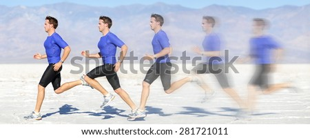 Running and sprinting man at great speed. Composite of male athlete runner sprinting fast on run in beautiful landscape. Sprinter in motion blur fast showing running movement. - stock photo