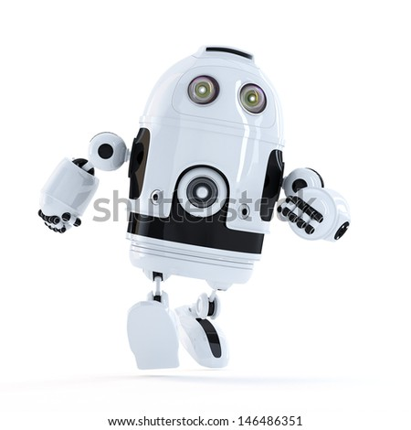 Running Android robot. Isolated - stock photo