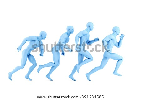 Running athletes. 3d illustration. Isolated over white. Contains clipping path - stock photo