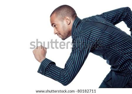 running black man isolated on white - stock photo