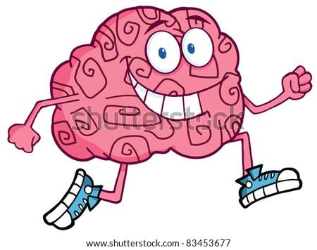 Running Brain Cartoon Character - stock photo