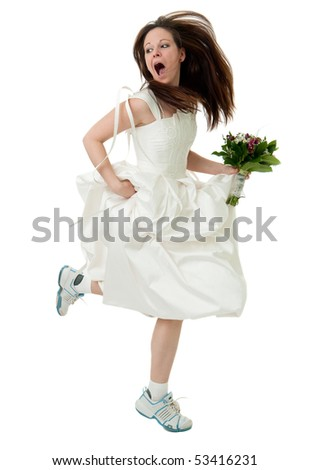running bride holding bouquet and screaming for help, isolated on the white background - stock photo